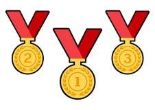 Fije de las medallas del premio del oro con las cintas rojas Vector libre illustration