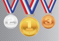 Fije de las medallas de oro, de plata y de bronce realistas del premio con la cinta El mejor premio brillante de la ceremonia del stock de ilustración