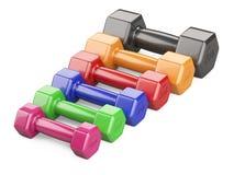 Fije de las pesas de gimnasia coloreadas para un ejercicio y los fitnes imagen de archivo