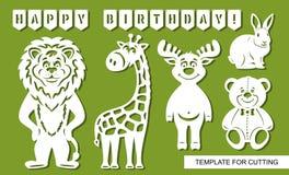 Fije de las siluetas animales para cortar: jirafa divertida, oso de peluche lindo, liebres del conejo, león, ciervos y banderas d ilustración del vector