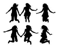 Fije de las siluetas negras del vector de las muchachas de salto aisladas en el fondo blanco stock de ilustración