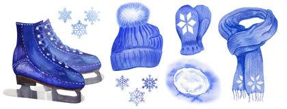 Fije de los accesorios del hombre del patín del invierno libre illustration