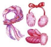 Fije de los accesorios de la muchacha del invierno stock de ilustración