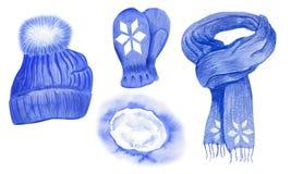 Fije de los accesorios masculinos del invierno ilustración del vector