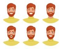 Fije de los avatares para hombre que expresan diversas emociones: alegría, tristeza, risa, rasgones, cólera, repugnancia, grito libre illustration