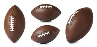 Fije de los balones de fútbol americanos de cuero en el fondo blanco foto de archivo