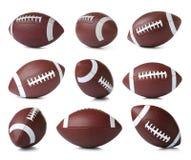 Fije de los balones de fútbol americanos de cuero en el fondo blanco fotos de archivo