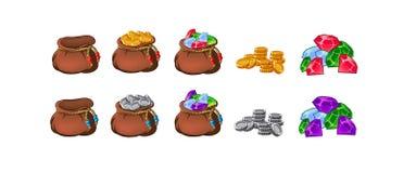 Fije de los bolsos viejos, monederos, vacío y lleno de oro, monedas, brillants, tesoros ilustración del vector