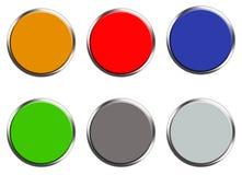 Fije de los botones coloreados de la web en el fondo blanco Estilo plano fije del botón redondo para su diseño del sitio web, log stock de ilustración