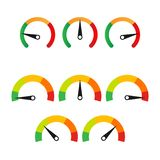 Fije de los botones del velocímetro con un a seis campos y cajas adicionales de la explicación stock de ilustración