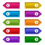 Fije de los botones de la web con las flechas, botones largos coloridos Vector stock de ilustración