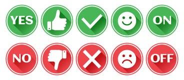 Fije de los botones rojos y verdes de los iconos Pulgar hacia arriba y hacia abajo Como y aversi?n Confirmaci?n y rechazo S? y No ilustración del vector