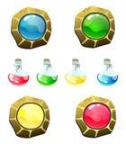 Fije de los botones y de las botellas mágicos de la fantasía con el líquido Los aislantes del vector son ideales para el diseño w stock de ilustración