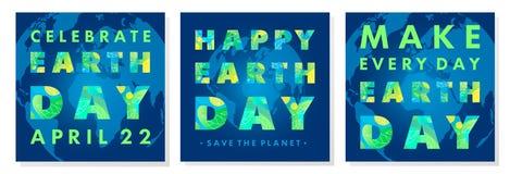 Fije de los carteles de la tipografía del Día de la Tierra libre illustration