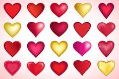 Fije de los corazones rojos y de oro de Valenines stock de ilustración
