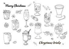 Fije de los diversos postres y bebidas tradicionales del invierno Plantilla para la estación y el diseño de la Navidad, tarjetas  ilustración del vector
