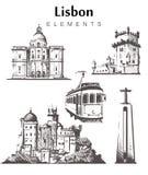 Fije de los edificios a mano de Lisboa Ejemplo del vector del bosquejo de los elementos de Lisboa stock de ilustración