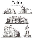 Fije de los edificios a mano de Túnez Ejemplo del vector del bosquejo de los elementos de Túnez libre illustration