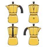 Fije de los ejemplos de los fabricantes de café de oro del géiser Objetos coloreados vector aislados stock de ilustración