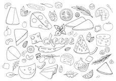 Fije de los elementos a mano del queso del esquema aislados en el fondo blanco Colección del queso del esquema del vector ilustración del vector