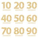 Fije de los emblemas del aniversario, diseño de la plantilla del aniversario para la web, juego Sistema del logotipo del aniversa ilustración del vector