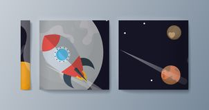 Fije de los folletos para la exploración espacial y la investigación de la gravedad ilustración del vector