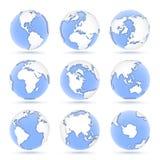 Fije de los globos, nueve iconos de los globos azules que muestran la tierra de todos los continentes libre illustration
