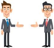 Fije de los hombres de negocios que introducen en ambos lados ilustración del vector
