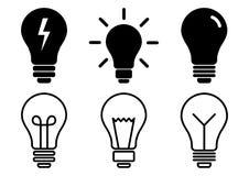 Fije de los iconos de la bombilla, diversa lámpara Ilustración del vector stock de ilustración