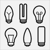 Fije de los iconos de la bombilla, diversa l?mpara Ilustraci?n del vector ilustración del vector