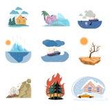 Fije de los iconos de la catástrofe y de los desastres naturales al aire libre aislados en el fondo blanco stock de ilustración
