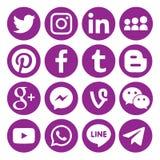 Fije de los iconos o de los símbolos sociales circulares negros populares de los medios impresos en el papel: , Twitter, Blogger, stock de ilustración