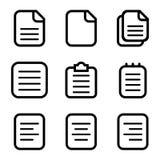 Fije de los iconos de papel, iconos de documento aislados en el fondo blanco Ilustración del vector EPS 10 stock de ilustración