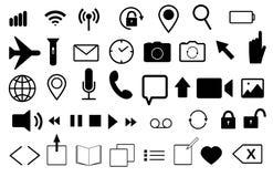 Fije de los iconos planos del vector para el teléfono móvil y la web Correo, lazo, reloj, teléfono, Wi-Fi, foto, vídeo, micrófono stock de ilustración