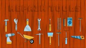 Fije de los iconos de utensilios de jardiner?a que sondean constructivos: la pala vio la esp?tula de la carretilla del rastrillo  ilustración del vector