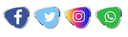 Fije de los logotipos sociales populares de los medios, whatsapp de youtube del gorjeo del instagram del facebook de los iconos libre illustration