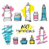 Fije de los materiales exhaustos del artista del vector del bosquejo de la mano Ejemplo estilizado blanco y negro con las manchas ilustración del vector