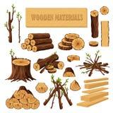 Fije de los materiales de la leña para la industria de la madera de construcción aislados en el fondo blanco Colección de tronco  ilustración del vector