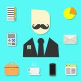Fije de los objetos para el hombre de negocios moderno stock de ilustración