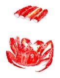 Fije de los palillos del cangrejo y de cangrejo de rey rojo cocinado Ejemplos de la acuarela aislados en el fondo blanco stock de ilustración