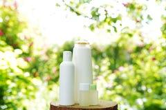 Fije de los productos para el cuidado de la piel del cuerpo en el fondo de la naturaleza, espacio de la copia Champú, gel, aceite fotos de archivo