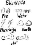 Fije de los símbolos de los elementos ilustración del vector
