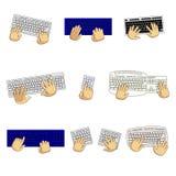 Fije de los teclados de diversos tipos y de manos del usuario aislados en el fondo blanco stock de ilustración