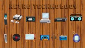 Fije de los viejos iconos retros a partir de los años 70, 80s, teléfono móvil del equipo del vintage del vinilo del ordenador del ilustración del vector