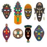 Fije de máscaras tribales africanas fotografía de archivo libre de regalías