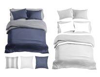 Fije de maqueta de los artículos del lecho Opinión superior de ropa de cama fotografía de archivo