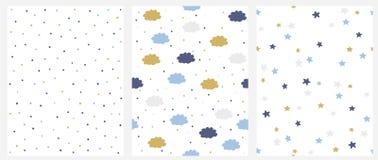 Fije de modelo inconsútil del vector 3 con el azul, oro y Gray Dots, las nubes y las estrellas aislados en un fondo blanco stock de ilustración