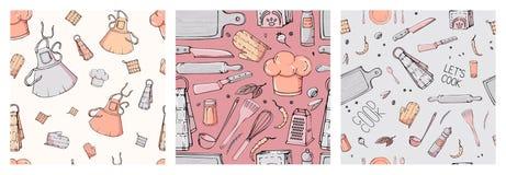 Fije de modelo inconsútil exhausto de la mano con los utensilios de la cocina libre illustration