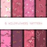 Fije de modelo inconsútil de los wildflowers hermosos en color rosado dulce monótono stock de ilustración