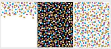 Fije de modelos de dos estrellas del vector y de 1 disposición con forma de la estrella del od del confeti stock de ilustración